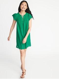 Lace-Up-Yoke Cutwork Swing Dress for Women