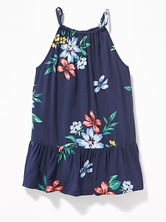 Suspended-Neck Floral Top for Girls