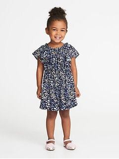 Ruffled Floral-Print Romper for Toddler Girls