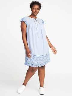 Plus-Size Lace-Up-Yoke Linen-Blend Swing Dress