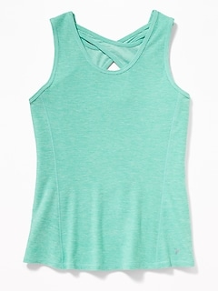 Fitted Go-Dry Cool Keyhole-Back Tank for Girls