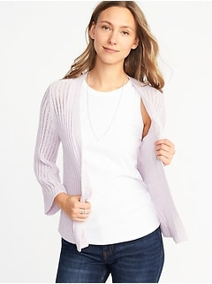 Textured Open-Front Bell-Sleeve Sweater for Women