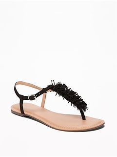 Sueded Fringe T-Strap Sandals for Women