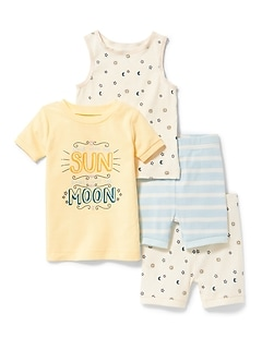 Sun & Moon 4-Piece Sleep Set for Toddler & Baby