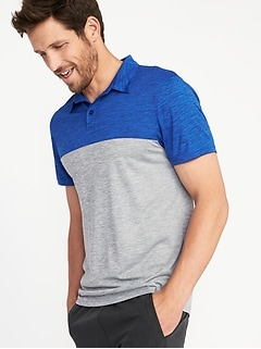 Go-Dry Color-Block Performance Polo for Men