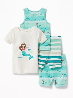 Mermaid-Graphic 4-Piece Sleep Set for Toddler & Baby