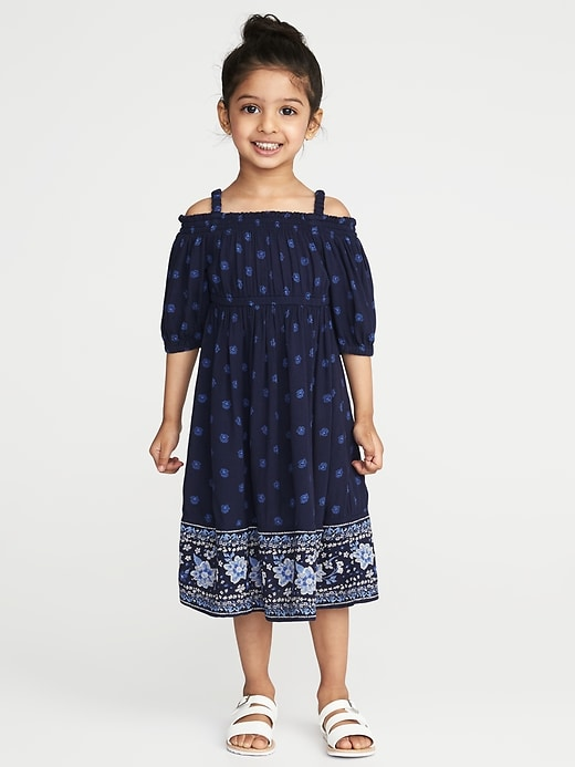 Printed Off-the-Shoulder Midi for Toddler Girls