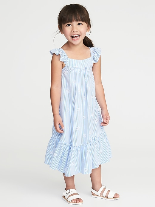 Printed Ruffle-Strap Sundress for Toddler Girls