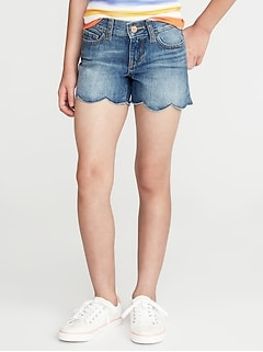 Scalloped-Hem Denim Shorts for Girls