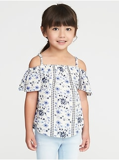 Floral Crepe Off-the-Shoulder Top for Toddler Girls