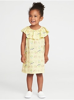 Ruffle-Neck Floral-Print Dress for Toddler Girls
