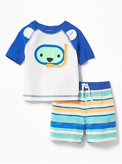 Graphic Rashguard & Printed Trunks Set for Baby