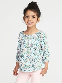 Floral Off-the-Shoulder Blouse for Toddler Girls