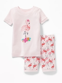 Flamingo-Graphic Sleep Set for Toddler & Baby