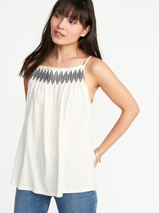 5ed072196152 Shoptagr | Sleeveless Smocked Neck Swing Top For Women by Old Navy