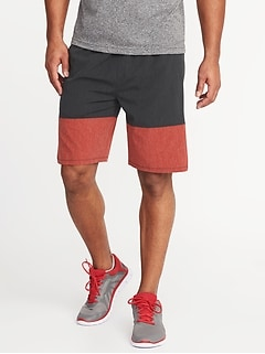 Go-Dry Color-Block Stretch Shorts for Men - 9-inch inseam