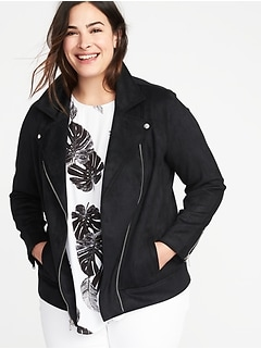 8f438c8343d Plus-Size Sueded-Knit Moto Jacket
