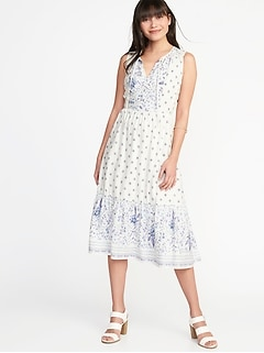 Fit & Flare Tie-Neck Midi Dress for Women