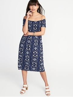 Smocked Off-the-Shoulder Slub-Weave Midi for Women