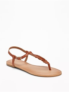Braided T-Strap Sandals for Women