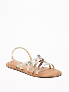 Strappy Faux-Leather Sandals for Women