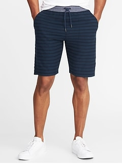 "Chambray-Waist Striped French Terry Shorts for Men (9"")"