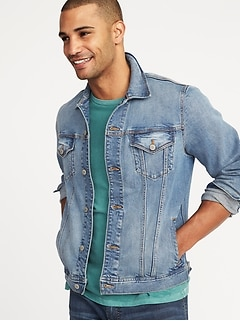 Built-In Flex Denim Jean  Jacket For Men