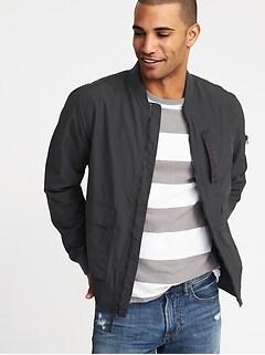 Water-Resistant Nylon Bomber Jacket for Men