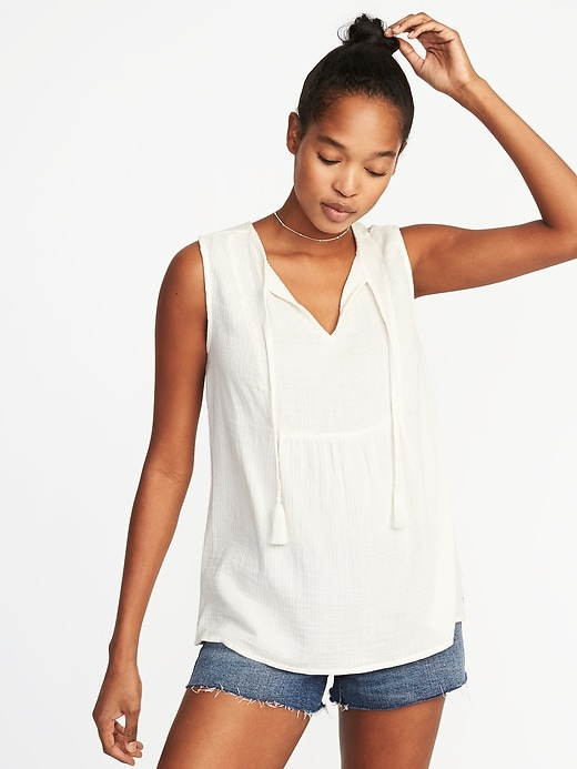 Relaxed Sleeveless Tie Neck Boho Top For Women by Old Navy