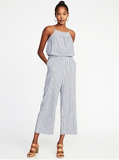 Sleeveless Smocked-Neck Striped Jumpsuit for Women