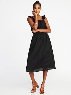 Sleeveless Ruffle-Trim Linen-Blend Waist-Defined Dress for Women