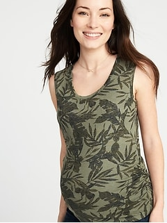Maternity Shirred U-Neck Tank