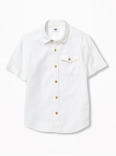 Linen-Blend Pocket Shirt for Boys
