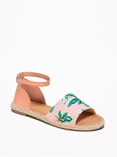 Patterned Canvas Espadrille Sandals for Women
