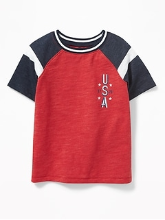 "Color-Blocked ""USA 1776"" Raglan Tee for Toddler Boys"