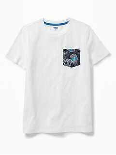 Printed-Pocket Tee for Boys
