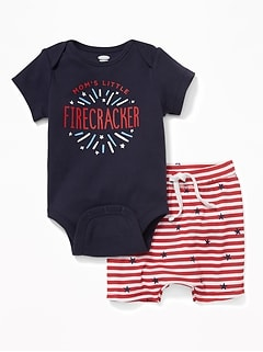 """Mom'S Little Firecracker"" Bodysuit & Shorts Set For Baby"