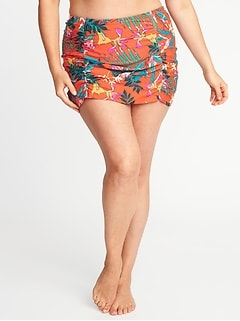Secret-Slim Plus-Size Shirred Swim Skirt