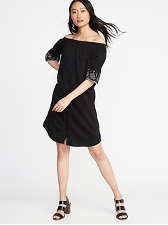 Off-the-Shoulder Embroidered Shirt Dress for Women