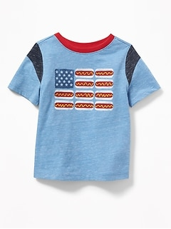 Hot Dog Flag-Graphic Tee for Toddler Boys
