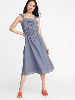 Waist-Defined Ruffle-Trim Midi Dress for Women