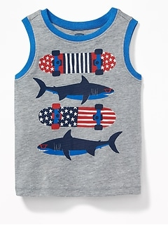 Americana Sharks & Skateboards Tank for Toddler Boys