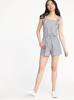 Ruffle-Trim Linen-Blend Utility Romper for Women