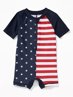Flag-Print Rashguard One-Piece For Baby