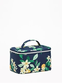 Printed Zip-Top Canvas Cosmetic Case for Women