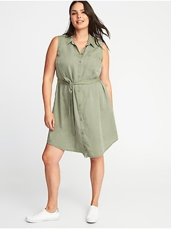 Sleeveless Plus-Size Tie-Belt Shirt Dress