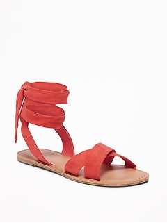 Sueded Ankle-Tie Sandals for Women