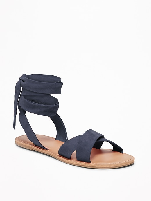 Sueded Ankle Tie Sandals For Women by Old Navy