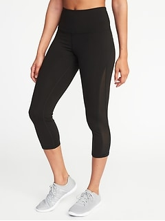 High-Rise Elevate Side-Mesh Compression Crops for Women