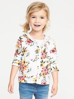 Floral French Terry Zip Hoodie for Toddler Girls